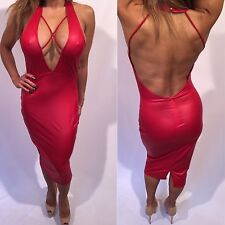 """Connie's Red Stretch """"Wet Look"""" Cocktail Dress Party Dress L"""