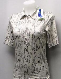 New Ladies XS Daily Sports snakeprint polyester spandex golf polo shirt