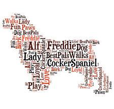 Personalised Cocker Spaniel Dog Word Art Print Great Gift Mum Dad Nan Friend