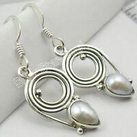 """For Women 925 Solid Silver White Pearl Dangle Earrings 1.4"""" Mother's Day Offers"""