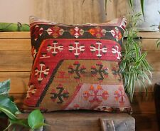(40*40cm, 16inch) Hand woven kilim cover antique slitweave black red brown