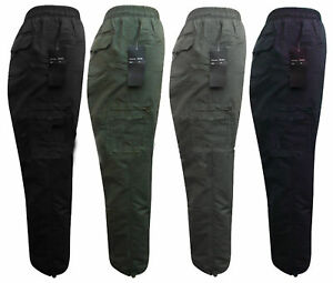 T5 Thermal Fleece Lined Winter Elasticated Cargo Work Combat Trousers M - 3XL