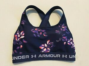 Under Armour Sports Bra Women's Small New Crossback Mid Print 1361042