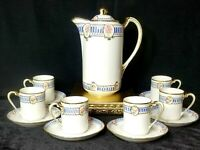 Vintage Nippon Hand Painted Chocolate Pot Set Pink Rose with Blue & Gold Trim