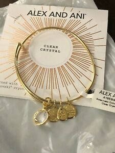 """ALEX AND ANI """"APRIL CLEAR CRYSTAL"""" Color Code SHINY GOLD Bangle NWT & Card"""