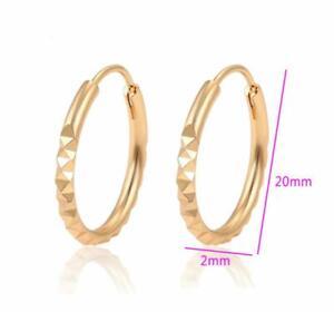 "SALE 9K 9ct ""Gold Filled"" Prom 20mm-58mm Diamond Cut Hoops Earrings Gift"