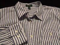 Ralph Lauren Womens 1X Plus Long Sleeve Button-Down Cotton Blue Striped Shirt