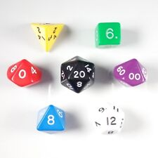 Opaque Poly 7 Dice RPG Set Mixed Random Pathfinder 5e Dungeons Dragons D&D HD