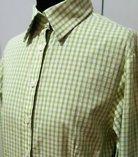 Immaculate Size 12 Rhodes & Beckett Green/White Egyptian Cotton Blouse 51cm Bust
