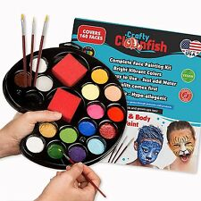 Face Painting Kit 16 color with Gift Box 3 Brushes 3 Sponges FREE ebook Face in