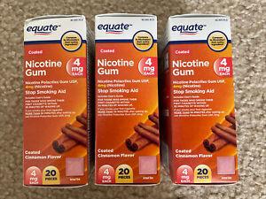 3 Equate Coated Nicotine Gum 4mg Cinnamon Flavor 60 ct Exp 06/23 VS Nicorette