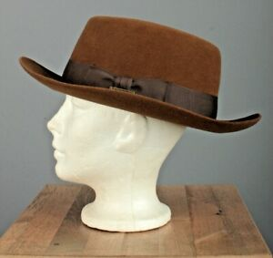 Men's NOS 1980s Stetson Indiana Jones Brown Fedora 7 5/8 80s Vtg Hat