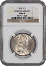 1918 Lincoln-Illinois 50c NGC MS65 - Silver Classic Commemorative