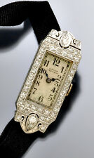 Exceptional Art Deco Ladies Platinum Diamond (1 CT) Gruen Watch with Ribbon Band