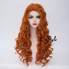 Orange 80CM Long Curly Lolita Heat Resistant Women Girls Anime Cosplay Party Wig