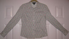 Women's Size 6 Blouse from Harold's - white with mini pink&green floral print