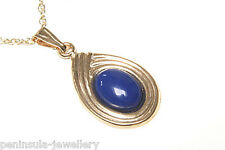 9ct Gold Lapis Lazuli Pendant and Chain Gift Boxed Made in UK