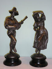 Antique Bronze Man Mandolin Lute Player and Woman Lady Dancer