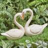 Swan Pair Statue Indoor Outdoor Heart Inspired Gift Idea Lawn Garden Decor Art