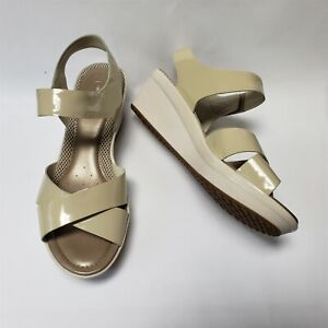 Easy Spirit Womens Shoes Sandals Patent Leather Cream Beige Cedella Size US 11 M