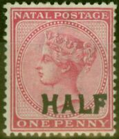 Natal 1895 Half on 1d Rose SG125a Surch Double Fine Lightly Mtd Mint