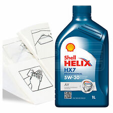 Engine Oil Top Up 1 LITRE Shell Helix HX7 Professional A 1L +Gloves,Wipes,Funnel