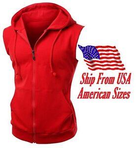 New Men's Red Vest Zipper Hoodie Sweatshirt Biker Gym MMA Boxing Workout Beast