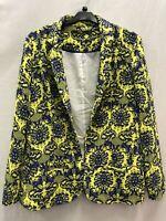 HD London ladies open blazer printed yellow mix pockets polyester size L 03