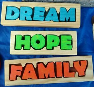 Personalized Name Wood Sign Family Home Wood Puzzle Handmade USA Holiday Gift