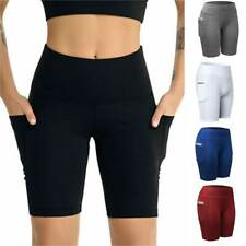 Women Compression Sport Shorts Leggings With Pockets Running Jogging Tight Pants