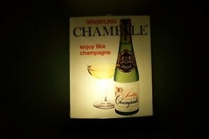 VINTAGE LIGHTED CHAMPALE BAR SIGN WITH WALL HANGER BRACKET--NEAR MINT