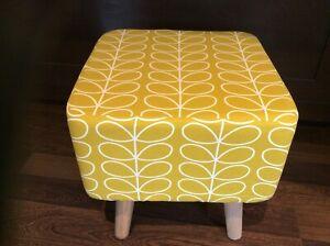 NEW LARGE FOOTSTOOL - Orla Kiely Fabric - Dandelion / Mustard Stem - 40cm