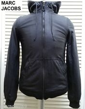 MARC JACOBS leather jacket black hoodie hooded hood polo bomber coat slim fit S