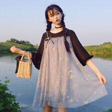 Women Lolita Crescent Tulle Dress Embroidered Starry Sky Puff Sleeve Fairy Skirt