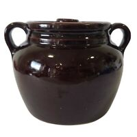 Vintage Brown Glaze Stoneware Crock Bean Pot With Handles and Lid Pottery USA