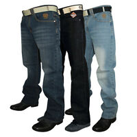 NEW MENS KAM DESIGNER BRANDED STRAIGHT LEG FIT JEANS WITH BELT IN 3 COLOURS SALE