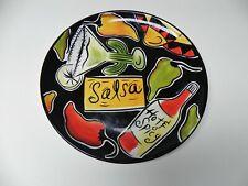 "Clay Art ""Salsa"" Stonelite Ceramic Round Dinner Plate/Platter Taco Party  11"""