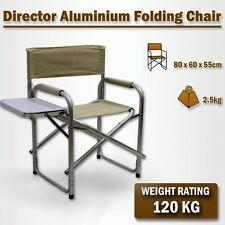 Directors Aluminium Folding Chair Camping Picnic Director Fishing Beige w/Table