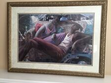 "African American Black Art Framed Print ""REMINISCE"" by John Holyfield  (FRAMED)"
