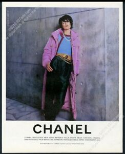1996 Chanel woman's pink coat green pants fashion vintage print ad