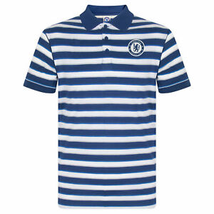 Chelsea FC Mens Polo Shirt Striped OFFICIAL Football Gift