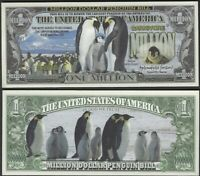 New Emperor Penguin Million Dollar Bill Play Funny Money Note + FREE SLEEVE