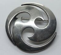Vintage Sterling Silver Brooch Pin 925 Taxco Modernist Swirl TS-134 Mexico