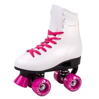 Skate Gear Soft Boot Roller Skate Retro High Top Indoor Outdoor White Pink