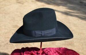 "Renegade Felt Cowboy Hat, Gus Crown, 4"" Brim w/Binding- Black - Size 7 5/8  #208"