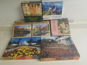 Lot of 7 Random 1000 Piece Jigsaw Puzzles Used Sure-Lox Time Away Guild RoseArt