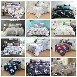 Luxury Floral Duvet Quilt Cover Bedding Set Pillowcase Single Double King Size
