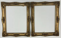 "Pair of Gold Painted Baroque Style Wooden Picture Frames 17.5 x 13.5"" #25"