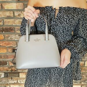 Kate Spade Peggy Patterson Drive Small Dome Satchel Crossbody Bag Grey Taupe