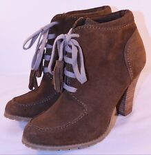 Limited Edition M&S Tan Suede Ankle Boots Block Heel Autumn Size 6.5 EU 39.5 C1